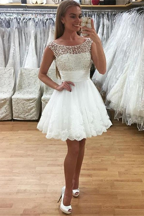 Newest Beading Short White Lace Cap Sleeves Homecoming Dresses K430