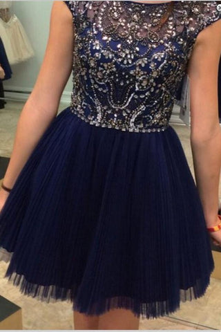 Navy Blue Short Cap Sleeves Beaded A-line Tulle Homecoming Dresses K434