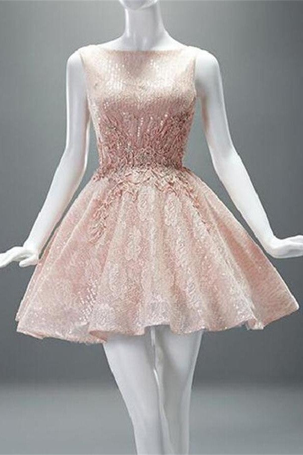 Gorgeous A-line Short Lace Sleeveless Homecoming Dresses K435