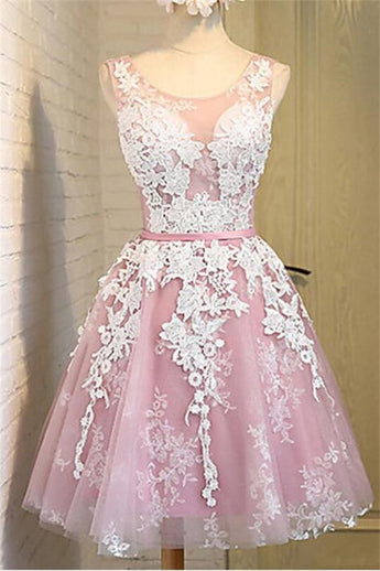 Real Made Lace Tulle A-line Sleeveless Short Homecoming Dresses K437