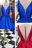 Beautiful Simple Royal Blue Satin V-neck Homecoming Dresses K438