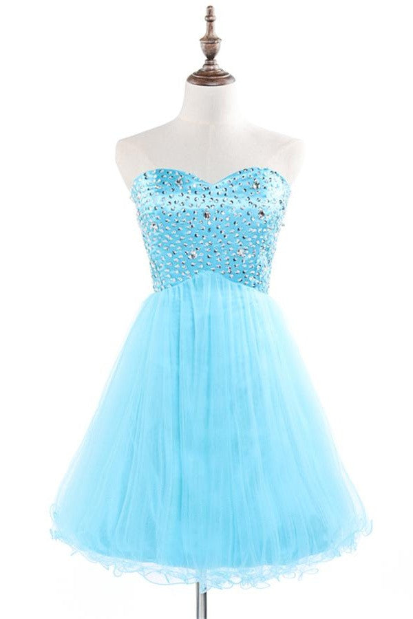 Classy Light Blue High Low Short Sweetheart Beaded Homecoming Dresses K444