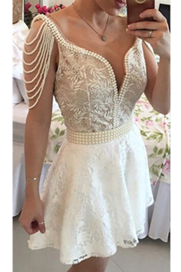 White Lace Beading V-neck Open Back Formal Short Homecoming Dress K445