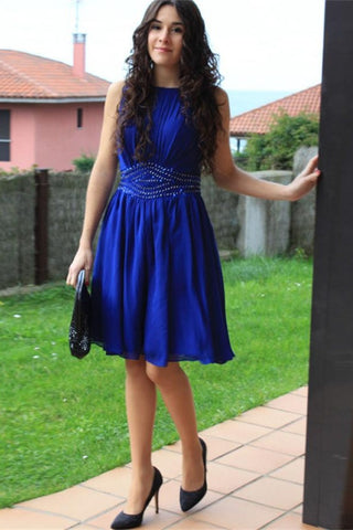Cheap Royal Blue Chiffon A-line Short Handmade Homecoming Prom Dresses K447