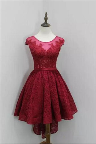 O-neck Lace Red Short Homecoming Dresses Cocktail Dresses K449