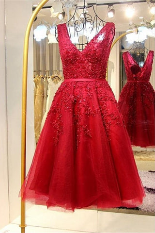 Amazing Light Red Lace Beaded V-neck Homecoming Dress K451