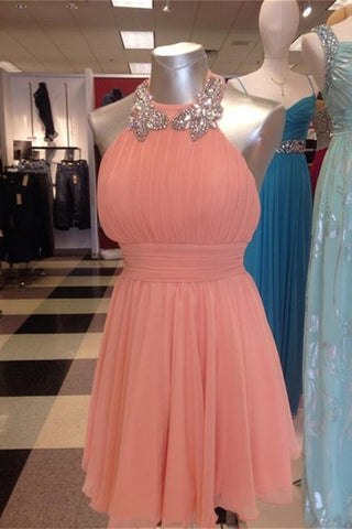 Coral Chiffon Halter Short Beading Backless A-line Homecoming Dresses K453
