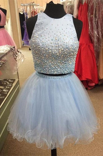 Baby Blue Tulle 2 Pieces Beading A-line O-neck Homecoming Dresses K454