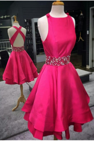Open Back Pretty Red A-line Beaded O-neck Homecoming Dresses Short Prom Dresses K455