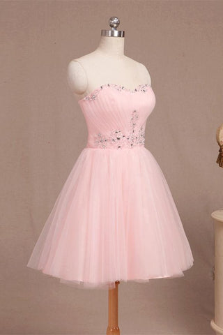 Nice Pink Short Sweetheart Beaded Tulle Homecoming Dresses K456