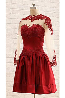 Burgundy Long Sleeves Lace Short Handmade Homecoming Dresses K458