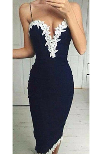 Navy Blue Spaghetti Straps Mermaid Lace Simple Homecoming Dresses K463