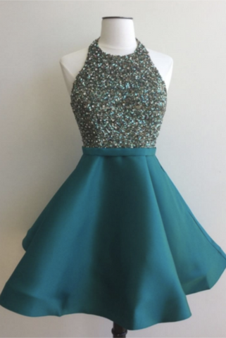 Formal Halter Beading Short Satin Open Back Homecoming Graduation Dresses K464