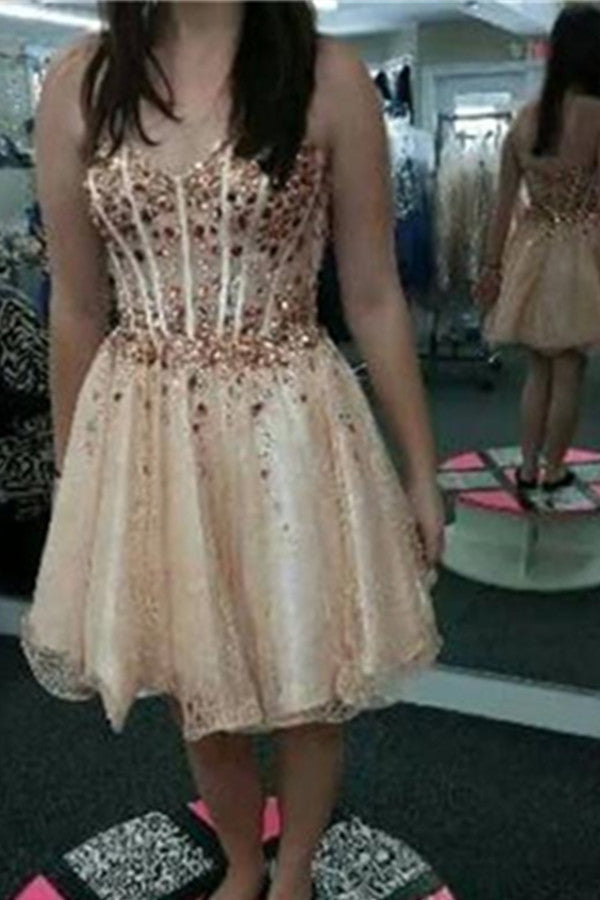 Sweetheart Beading A-line Short Handmade Prom Homecoming Dresses K466