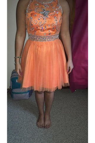 Orange Handmade Tulle Beading Close Back A-line Homecoming Dresses K471