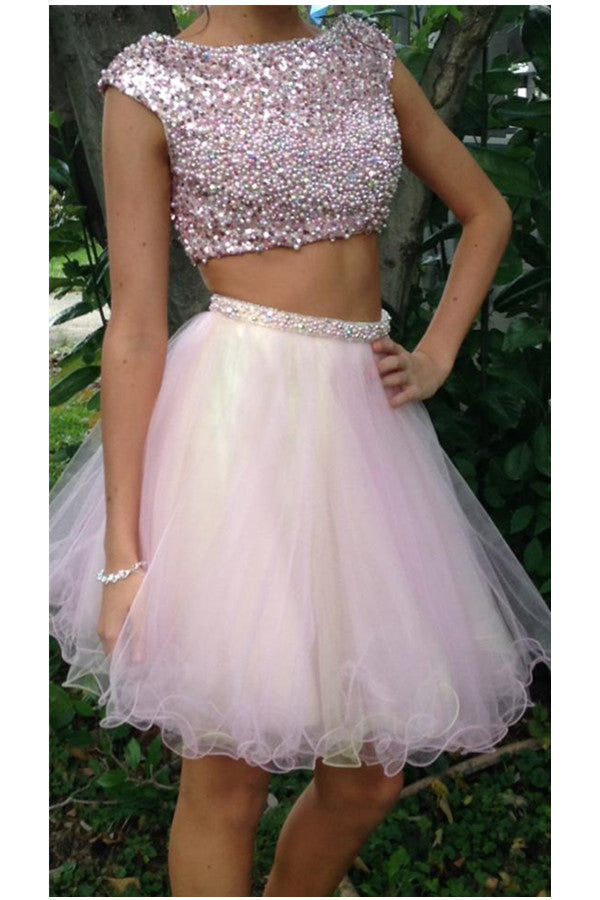 Pretty Two Pieces Handmade Pink Tulle Beaded Homecoming Dresses K473