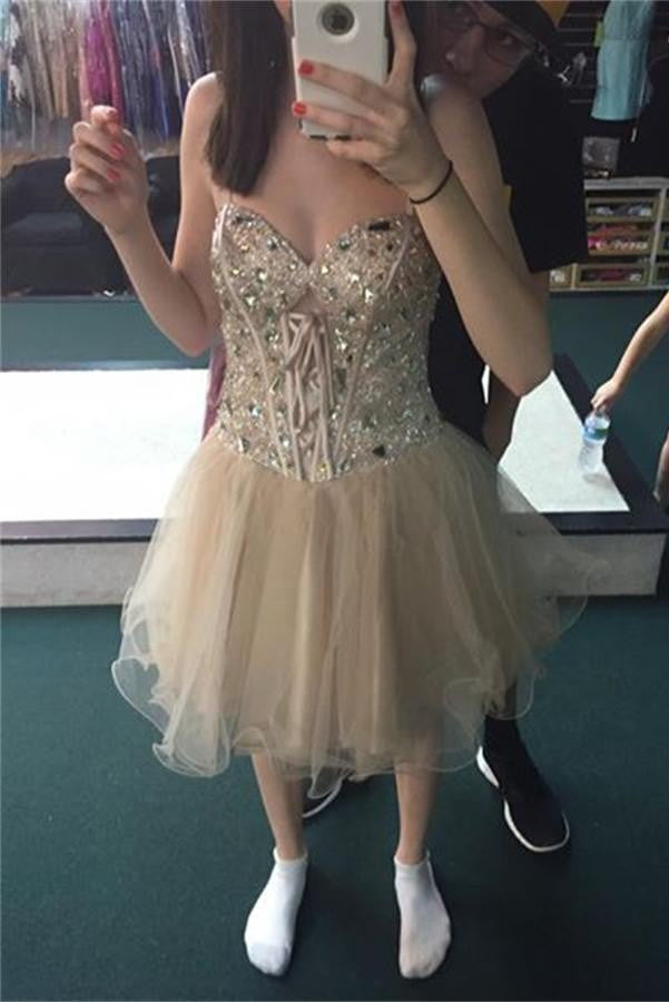 Light Pretty Beaded A-line Tulle Cute Homecoming Dresses K476