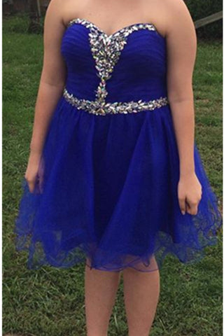 Royal Blue Tulle Handmade Strapless Beaded Homecoming Dresses K480