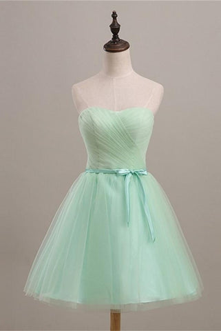 Simple Mint Strapless Lace Up Cute Elegant Homecoming Dresses K482