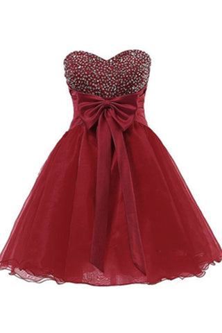 Sweetheart Burgundy Beaded Tulle Short Homecoming Dresses With Bow K483