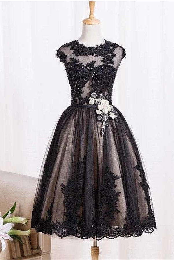 Black Lace Tulle Zipper Back A-line Handmade Homecoming Dresses K485