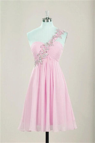 One Shoulder Empire Waist Chiffon Pink Beaded Open Back Homecoming Dresses K486