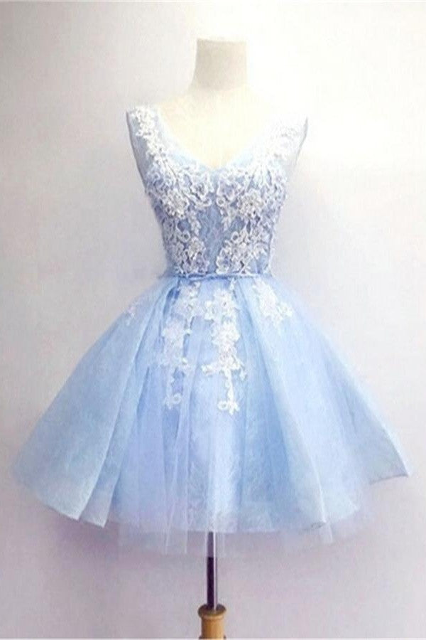 Light Blue Skirt White Lace V-neck Handmade Homecoming Dresses K487
