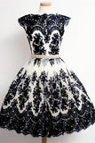Short Sleeves Black Lace A-line Homecoming Dresses With Pearl Belt K488