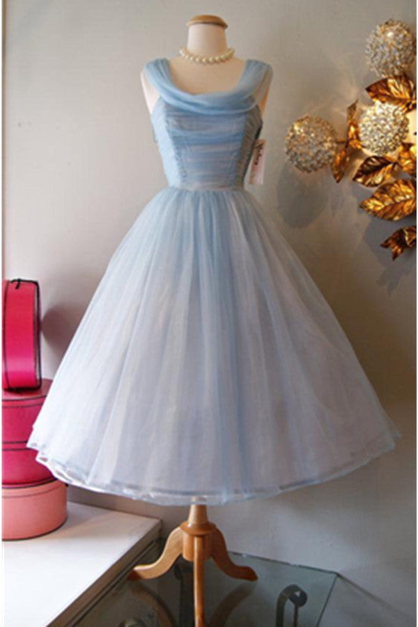 Vintage Light Blue A-line  Scoop Neckline Homecoming Dresses K489
