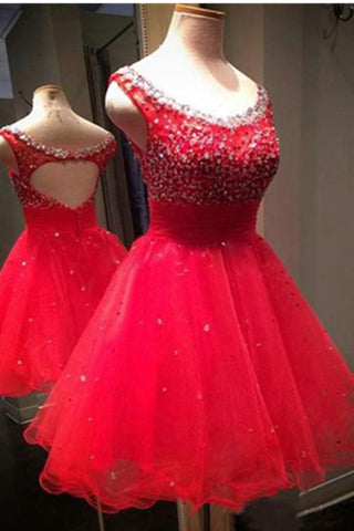 Red Open Back Beaded Sheath Top Tulle Homecoming Dresses K490