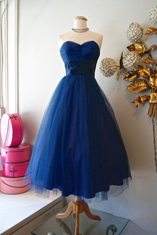 Simple Sweetheart Cheap Handmade A-line Tulle Blue Homecoming Dresses K491