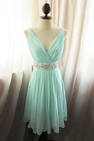 V-neck Mint Chiffon Cute Short Beaded Homecoming Dresses With Straps K492