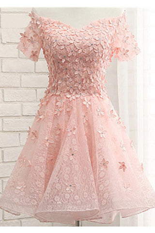 Off Shoulder Blush Pink Applique Short Sleeves Cute Homecoming Dresses K495