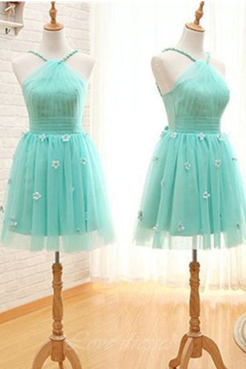 A-line Short Handmade Teal Tulle Open Back Homecoming Dresses With Appliques K497