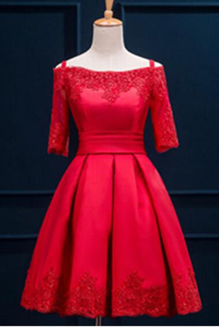 Lace Up Off Shoulder Red Lace Satin Homecoming Prom Dresses K498
