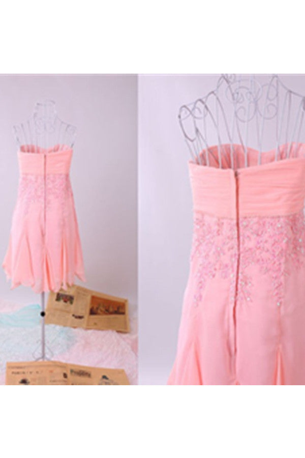 Real Made Cute Pink Chiffon Beaded Strapless Homecoming Dresses K500