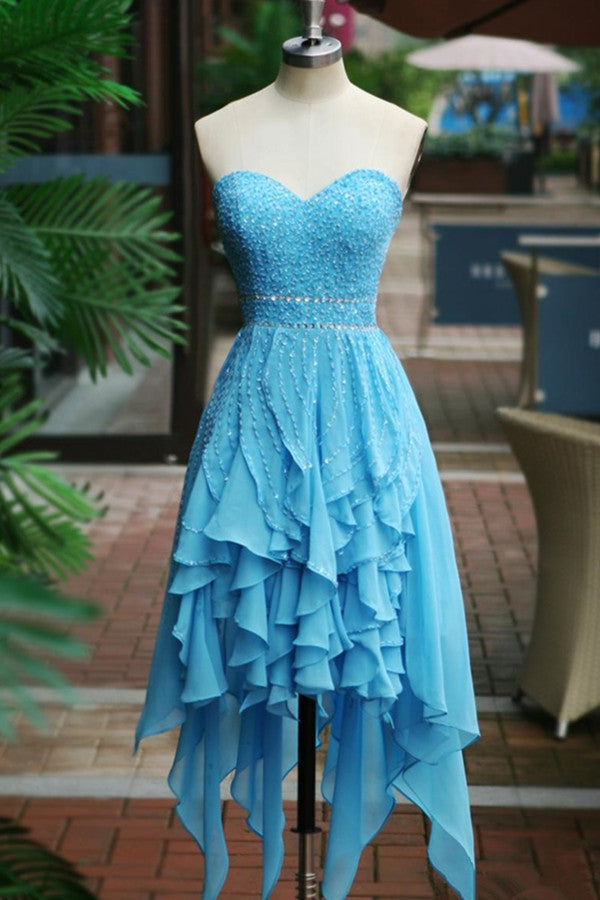 Gorgeous Sweetheart Chiffon Beaded Zipper Back Homecoming Dresses K501