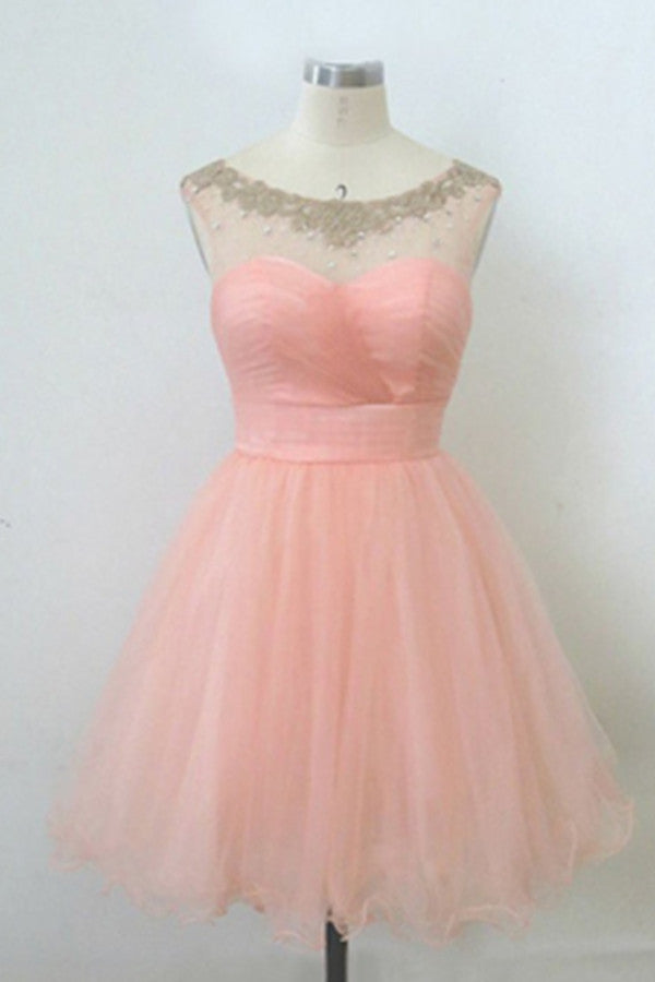Blush Pink Lace Beaded Handmade Tulle Free Shipping Homecoming Dresses K502