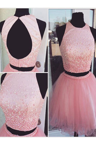 Two Pieces Pink Beaded Tulle Backless A-line Homecoming Dresses K505