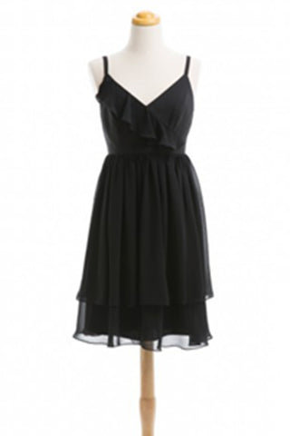 Simple Cheap Handmade Black Chiffon Short Homecoming Dress Bridesmaid Dresses K507