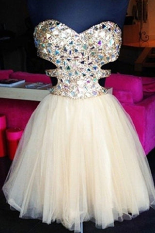 Strapless Beaded Tulle A-line Sleeveless Cute Elegant Homecoming Dresses K513