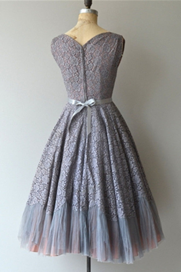 Grey Lace Vintage A-line Zipper Back Homecoming Dresses K514