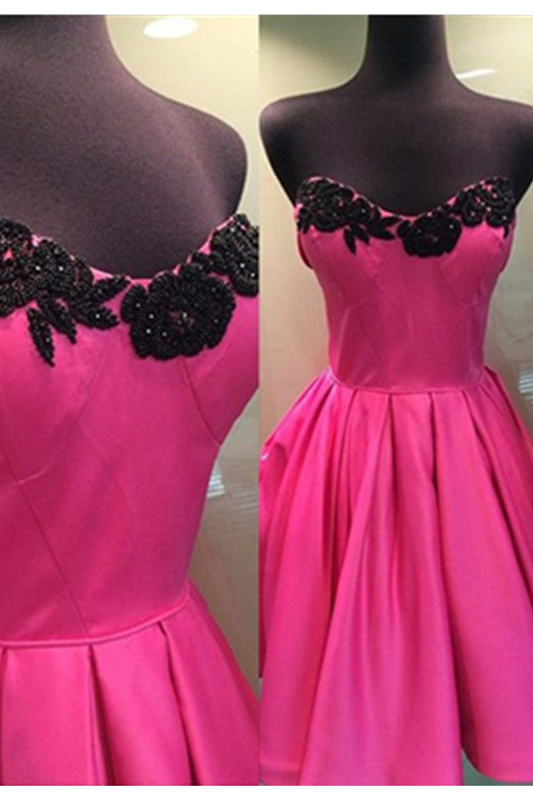 Hot Pink Short Black Lace Sweetheart Black Lace Satin Homecoming Dresses K518