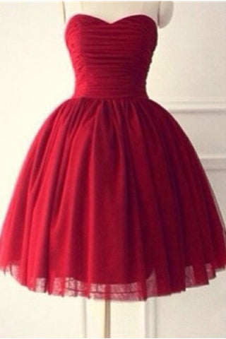 Red Sweetheart Handmade Simple Cute Homecoming Dresses K521