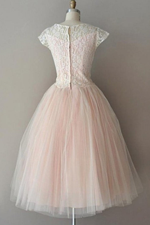 Pink Lace Real Made Cheap A-line Free Shipping Homecoming Dresses K522