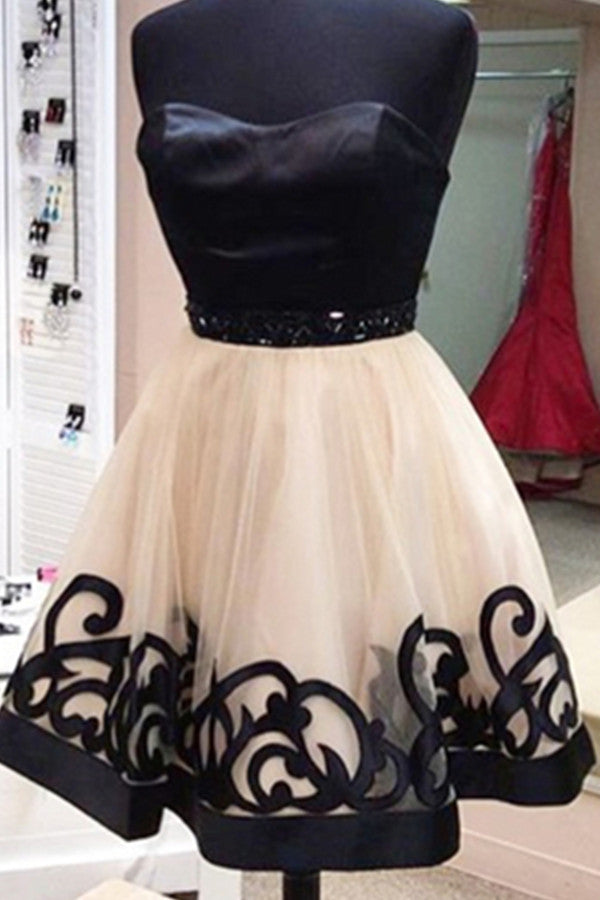 Pretty Strapless Black Tulle Homecoming Cocktail Dresses K527
