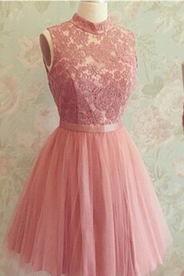 High Neckline Pink Lace Open Back Short Tulle Homecoming Dresses K531