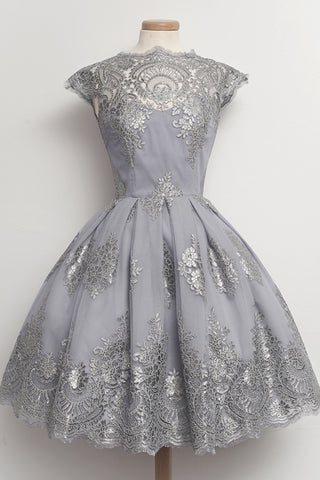 Grey Cap Sleeves A-line Vintage Lace Homecoming Dresses K539