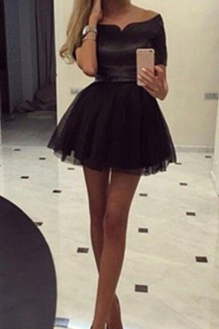 Black Off Shoulder Short A-line Classy Homecoming Dresses K568