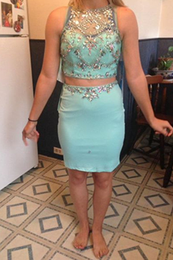 Mermaid Two Pieces Handmade Beading Light Sky Blue Homecoming Dresses K573